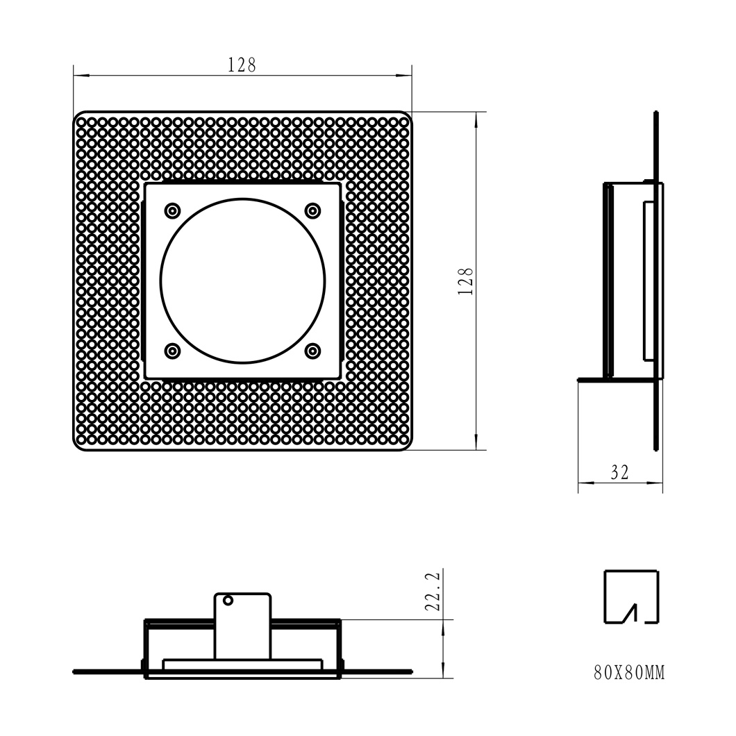 Andes 1-S Square Adjustable Plaster In LED Downlight Image number 8