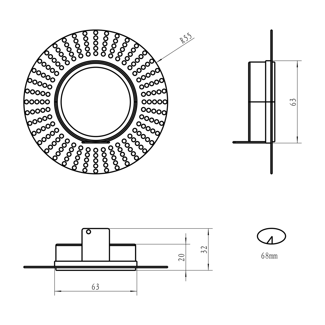 Eiger Mini 1-R Round IP65 Fixed Plaster In LED Downlight Image number 10
